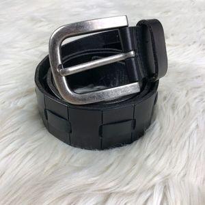 Levi's Black Leather Woven Belt